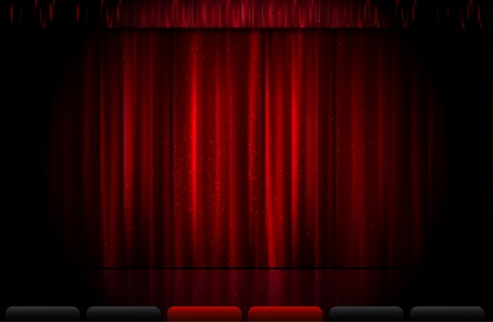 Closed red stage curtain illustration Vector