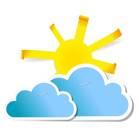 Sun and clouds on white background Stock Vector - 17202610