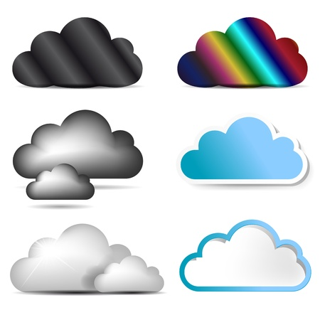 shiny icon: Vector cloud icon set  Illustration