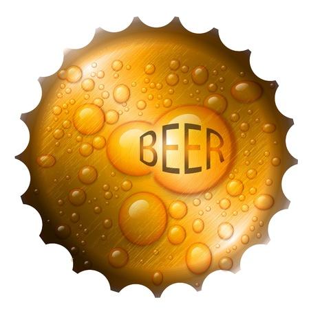 dark lager: beer bottle cap with drops  Illustration