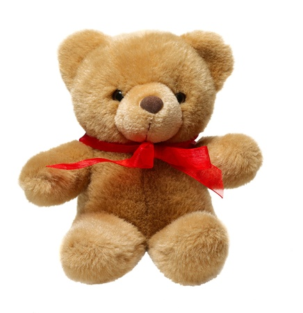 Classic teddy bear with red bow isolated on white background photo