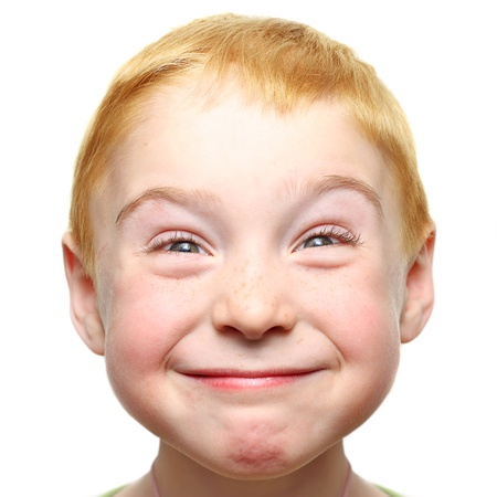 nice face: Happy little boy isolated