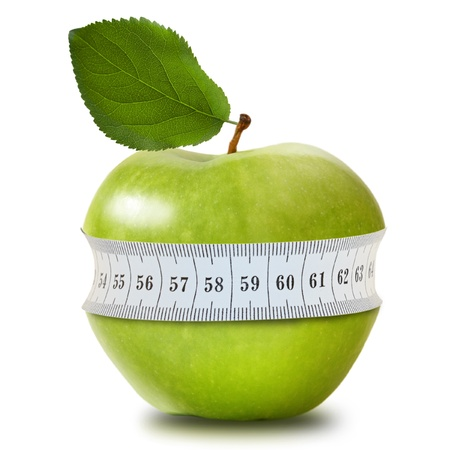 measure tape: Green apple with measurement isolated on white Stock Photo