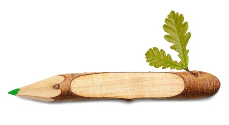 Wooden pencil with leaf Stock Photo - 17305773