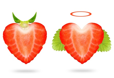Strawberry angel and devil isolated on white background  photo