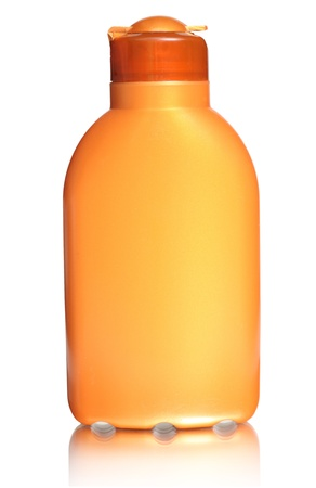 sun lotion: Plastic bottle for sun lotion, isolated on white  Stock Photo