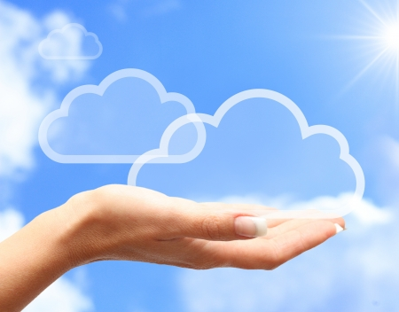 icloud: Hand with cloud computing symbol against blue sky