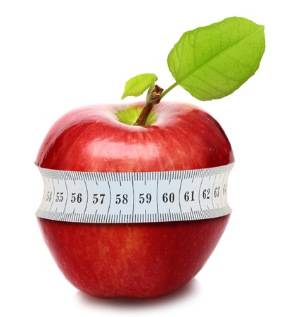 health conscious: Red apple with measurement isolated on white