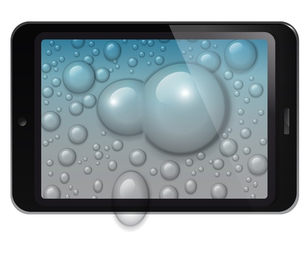 fictitious: Fictitious design tablet with water drops background