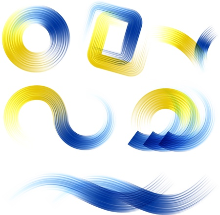 logos design: Different abstract blue and yellow logos and elements for design