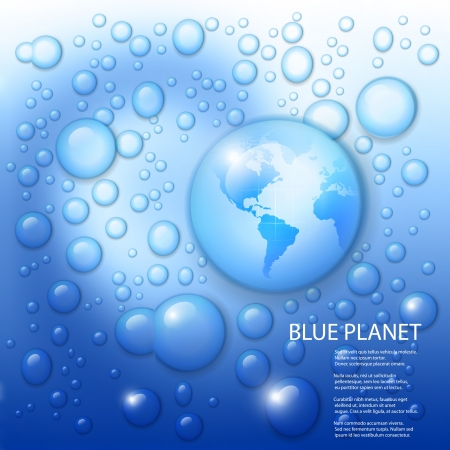 water splash with globe of the world in drop on blue background  Stock Vector - 17330876
