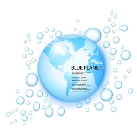 water splash with globe of the world in drop on blue background  Stock Vector - 17330870