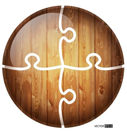 caoba: Puzzle fondo círculo de madera