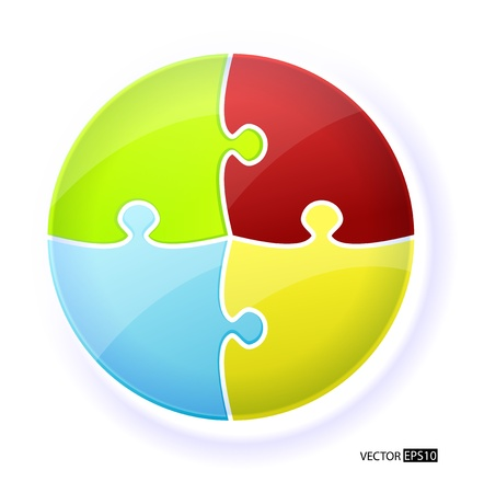 circle puzzle illustration Each piece is editable  Vector