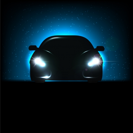 car showroom: Silhouette of car with headlights on black background.