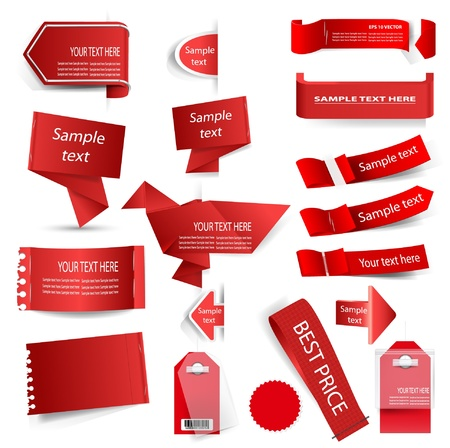 translucent red: red tag set isolated on white  Illustration
