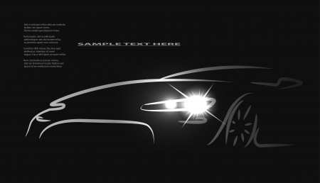 luxury cars: Silhouette of car with headlights on black background.
