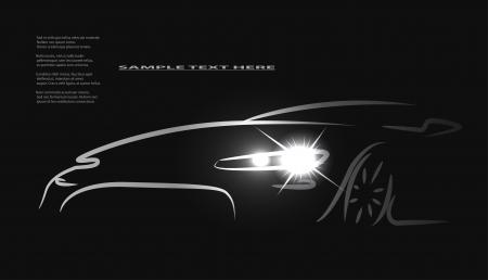 silueta coche: Silueta del coche con los faros en fondo negro. Vectores