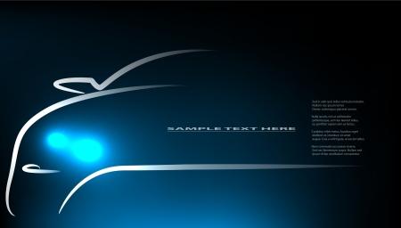 scheinwerfer: Silhouette des Autos mit Scheinwerfern auf schwarzem Hintergrund.