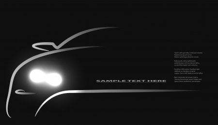 Silhouette of car with headlights on black background.  Vector