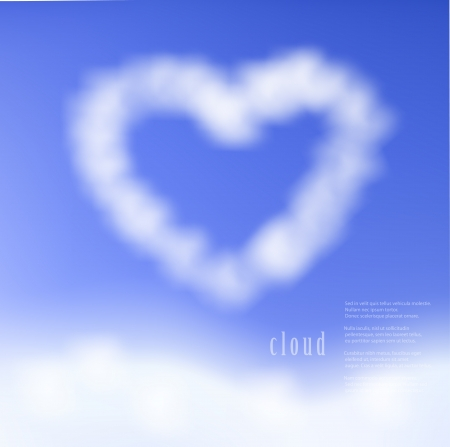 Heart clouds on blue sky,on a separate layer, easy to put on any background.  Stock Vector - 17558839