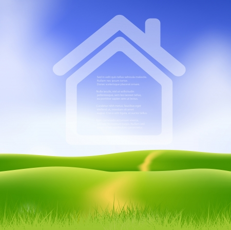 Dream house on green field. Stock Vector - 17558986
