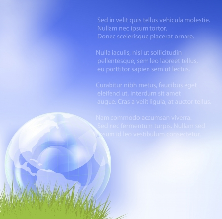 Glass globe in fresh green grass.  illustration. Stock Vector - 17558907