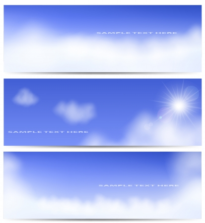 illustration of sun and clouds on a blue sky. Gradient mesh used. Stock Vector - 17558888