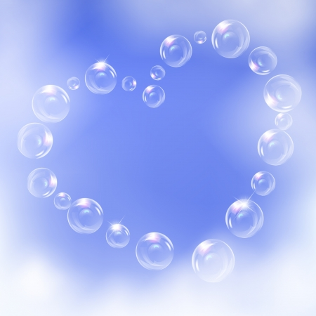 Heart of realistic bubbles,symbol of love, against blue sky background. Stock Vector - 17559005