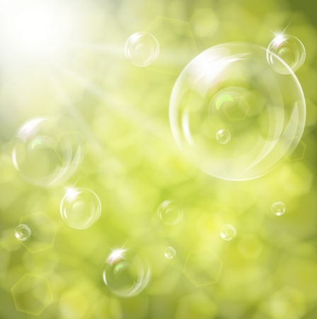 Soap bubbles on green natural background Stock Vector - 17558950