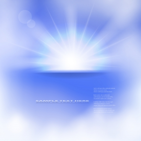 illustration of sun and clouds on a blue sky. Gradient mesh used. Illustration