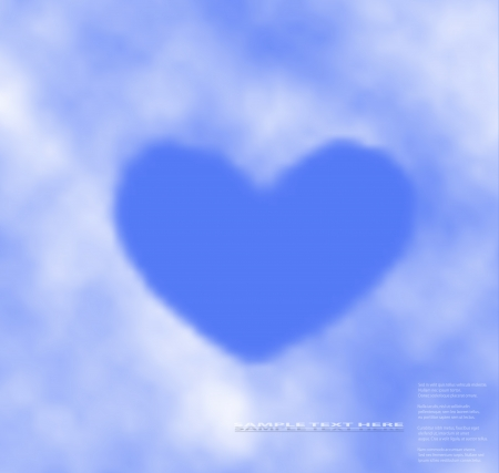 Heart clouds on blue sky,on a separate layer, easy to put on any background.  Stock Vector - 17558902