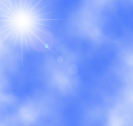 illustration of sun and clouds on a blue sky. Gradient mesh used. Stock Vector - 17558934