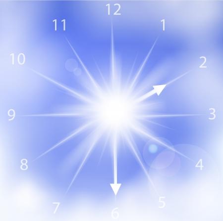 illustration of clock sun on a blue cloudy sky. Stock Vector - 17558905