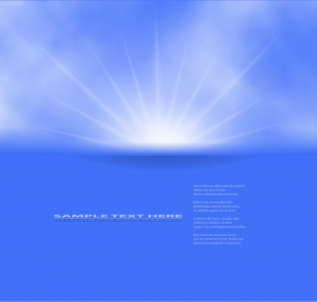 scenics: illustration of sun and clouds on a blue sky. Gradient mesh used. Illustration