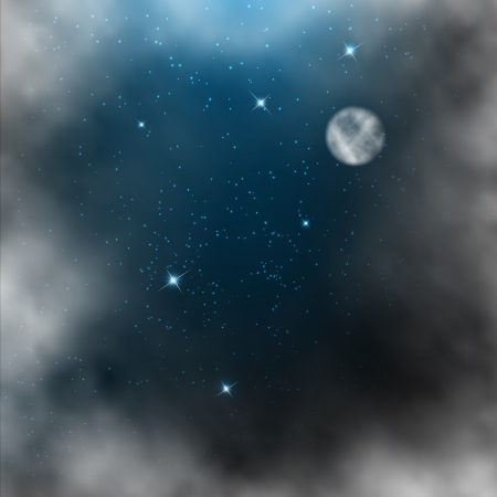 Space background with bright stars and moon. Vector