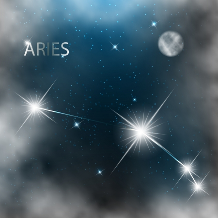 Aries  Zodiac sign bright stars in cosmos. Stock Vector - 17558989