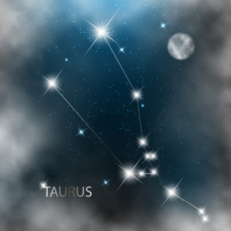Taurus  Zodiac sign bright stars in cosmos. Stock Vector - 17559010