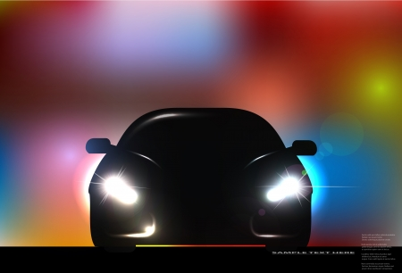 car showroom: Silhouette of car with headlights on blurred background. illustration