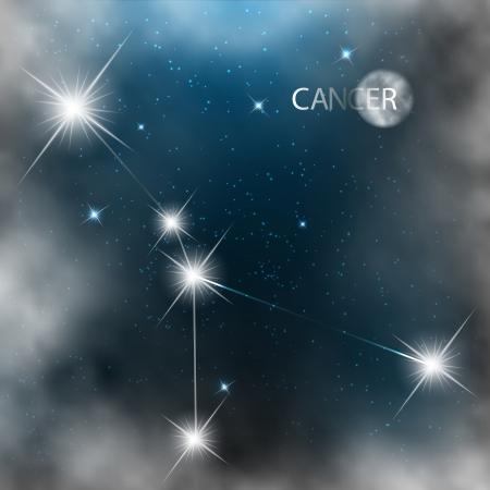 zodiacal sign: C�ncer Signo del zod�aco estrellas brillantes en el cosmos