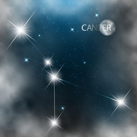 Cancer  Zodiac sign bright stars in cosmos Stock Vector - 17559002