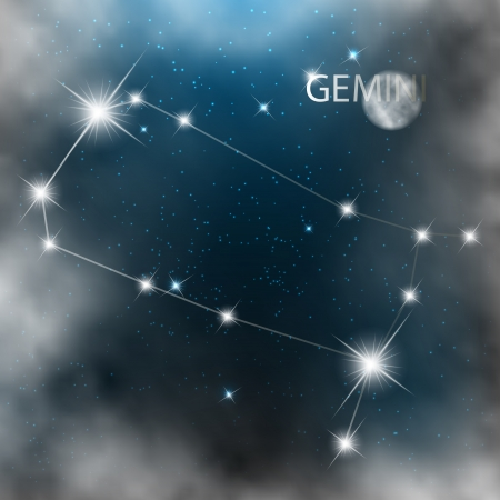 Gemini  Zodiac sign bright stars in cosmos  Vector