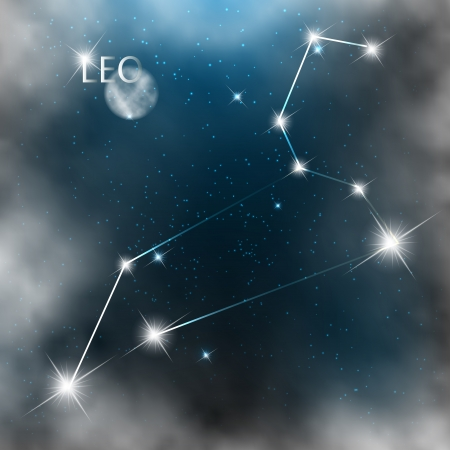 Leo  Zodiac sign bright stars in cosmos  Vector