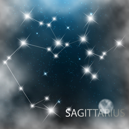 Sagittarius  Zodiac sign bright stars in cosmos  Vector