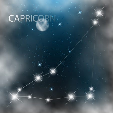 Capricorn  Zodiac sign bright stars in cosmos  Vector