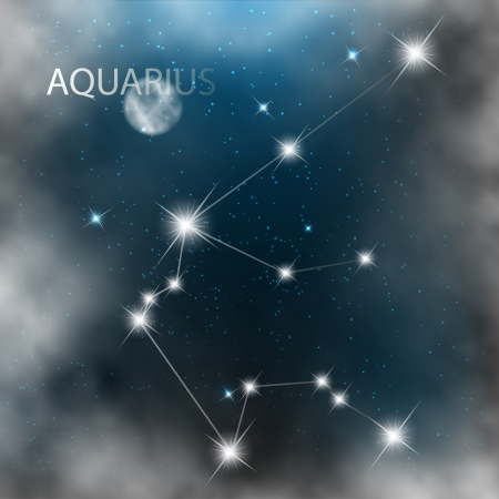 Aquarius Zodiac sign bright stars in cosmos  Vector