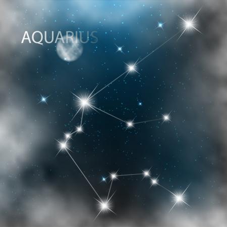 constellation: Aquarius Zodiac sign bright stars in cosmos