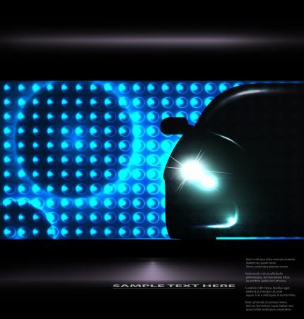 auto illustratie: Silhouet van auto met koplampen op onscherpe achtergrond illustratie Stock Illustratie
