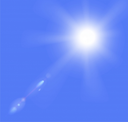 moody background: illustration of sun and clouds on a blue sky  Gradient mesh used