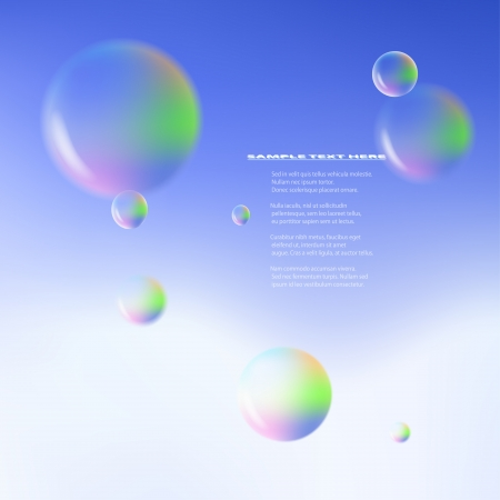 Vector realistic bubbles against blue sky background Stock Vector - 17711109